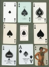 9 different single playing cards, all Aces of Spades  #360